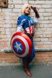 KYIV, ΟΥΚΡΑΝΊΑ - 9 ΣΕΠΤΕΜΒΡΊΟΥ 2018: Καπετάνιος America cosplayer pos στοκ εικόνα