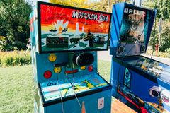 KYIV, ΟΥΚΡΑΝΊΑ - 9 ΣΕΠΤΕΜΒΡΊΟΥ 2018: Σοβιετική μηχανή εποχής arcade στοκ φωτογραφία με δικαίωμα ελεύθερης χρήσης