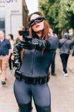 KYIV, ΟΥΚΡΑΝΊΑ - 9 ΣΕΠΤΕΜΒΡΊΟΥ 2018: Catwoman cosplayer που θέτει στοκ φωτογραφίες
