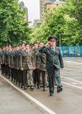 KYIV, УКРАИНА - 26-ое мая 2017: Церемония по случаю конца академического года в лицее Киева воинском Ивана Bohun стоковое фото