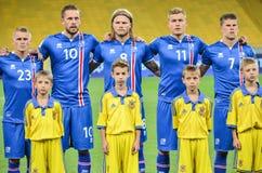 KYIV, УКРАИНА - SEPT. 5, 2016: Команда Исландии перед миром ФИФА Стоковое Изображение RF