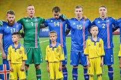 KYIV, УКРАИНА - SEPT. 5, 2016: Команда Исландии перед миром ФИФА Стоковые Изображения