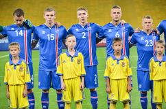 KYIV, УКРАИНА - SEPT. 5, 2016: Команда Исландии перед миром ФИФА Стоковая Фотография RF