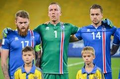 KYIV, УКРАИНА - SEPT. 5, 2016: Команда Исландии перед миром ФИФА Стоковое фото RF