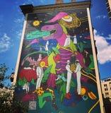 Μια από τις φημισμένες ζωηρόχρωμες τοιχογραφίες Kyiv ή του Κίεβου, Ουκρανία στοκ εικόνες με δικαίωμα ελεύθερης χρήσης
