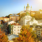Kyiv in autumn, view of Andriyivsky Stock Images