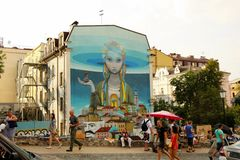 KYIV, bella pittura dei graffiti dell'UCRAINA avente diritto Fotografia Stock