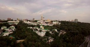 Kyiv, the capital of Ukraine. Kiev Pechersk Lavra also known as the Kiev Monastery of the Caves, is a historic Orthodox Christian. Monastery located on the bank stock video footage