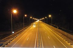 Kyiv Chop road at night. The road kiev-chop is laid from the capital of ukraine to the western border, this road is united with Ukraine with the countries of stock photos
