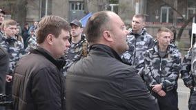 Kyiv, de Oekraïne 9 april, 2019 De activisten en de verdedigers van de Nationale Korpsen politieke partij wonen een verzameling b stock footage