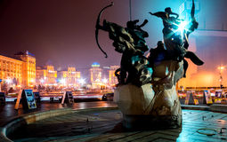 KYIV, DE OEKRAÏNE - DECEMBER 18, 2015: Onafhankelijkheidsvierkant - het centrale vierkant van Kyiv In 2013 er vonden de belangrij Royalty-vrije Stock Afbeeldingen