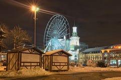 KYIV, DE OEKRAÏNE 23,2017 DECEMBER: Voorbereidingen voor de Kerstmisvakantie en het nieuwe jaar Installatie van een Reuzenrad bij Royalty-vrije Stock Fotografie