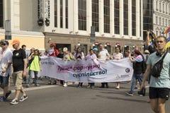 Kyiv, de Oekraïne 23 Juni, 2019 Jaarlijks Pride Parade LGBT Inschrijving trans generatie van de maatschappij stock afbeeldingen