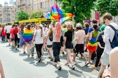 Kyiv, de Oekraïne - Juni 23, 2019 Maart van gelijkheid LGBT maart KyivPride Vrolijke parade royalty-vrije stock foto