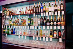 KYIV, DE OEKRAÏNE - MAART 25, 2016: Diverse alcoholische dranken bott Stock Foto