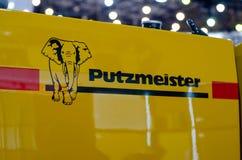 Kyiv, de Oekraïne - Maart 20, 2019: Logo Putzmeister Putzmeister is een Duitse fabrikant van concrete pompen stock foto