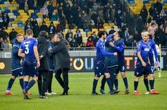 KYIV, de OEKRAÏNE - 15 Maart, 2018: Voetbalsters van Lazio celebr Royalty-vrije Stock Fotografie