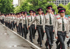KYIV, de OEKRAÏNE - Mei 26, 2017: Ceremonie ter gelegenheid van het eind van het academische jaar in militaire lyceum van Kiev va Royalty-vrije Stock Afbeelding