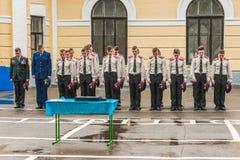 KYIV, de OEKRAÏNE, 26 Mei, 2017; Een ceremonie ter ere van het eind van het schooljaar in militaire lyceum van Ivan Bohun Royalty-vrije Stock Foto