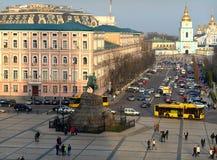 Kyiv, de Oekraïne Mening van de stad van een hoogte stock fotografie