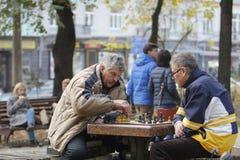 KYIV, de OEKRAÏNE - 18 Oktober 2015: Het Shevchenko-Park is de populairste plaats in Kiev Stock Foto
