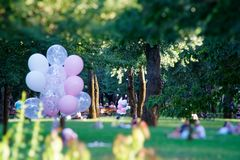 Kyiv - de Oekraïne, 11 08 2018: Roze ballon op het de herfstgebied De grappige stemming, treft voor het vieren, vakantiegebeurten royalty-vrije stock afbeelding