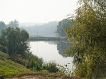 Kyiv early sunny morning lakes stock photography