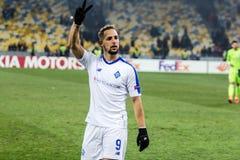 "Kyiv för UEFA Europa Leaguefotbollsmatchdynamo †""Olympiakos FC, Februari 22, 2019 arkivfoton"