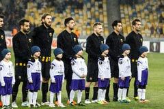 """Kyiv för dynamo för fotbollsmatch för UEFA-Europaliga †""""AEK, Februari Arkivfoton"""