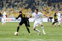 """Kyiv för dynamo för fotbollsmatch för UEFA-Europaliga †""""AEK, Februari Arkivbild"""