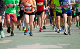 Kyiv half marathon. KYIV, UKRAINE - APRIL 26, 2015:Kiev half marathon in Kyiv, Ukraine. The number of runners were more than six thousand people royalty free stock photos