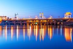 Kyiv Hydroelectric Power Plant, Ukraine. Scenic summer night industrial view of Kyiv Hydroelectric Power Plant dam on Dnieper river in Vyshgorod, Ukraine Stock Photo