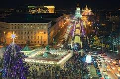 Main Kyiv`s New Year tree and Christmas market on St. Sophia Square. Open air cafes, children`s attractions and souvenir kiosks. KYIV KIEV, Ukraine-JANUARY 08 Stock Photos