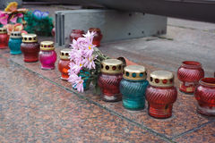 Kyiv Maidan covered with flowers Royalty Free Stock Photography