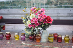 Kyiv Maidan covered with flowers Royalty Free Stock Photo