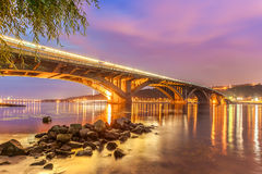 Kyiv Metro bridge at night. Ukraine Royalty Free Stock Photography