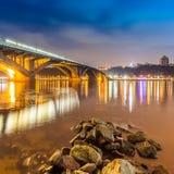 Kyiv Metro bridge at night. Ukraine Stock Photo