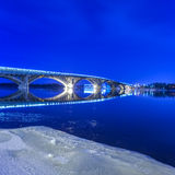 Kyiv metro bridge at night Royalty Free Stock Photo