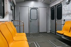 Kyiv metro wagon interior with no people royalty free stock photo