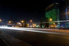Kyiv night car trails royalty free stock photography