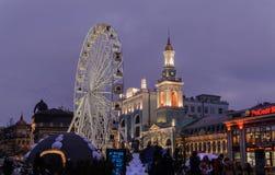 Kyiv observationshjul på aftonen Royaltyfri Foto