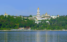 Kyiv Pechers'k Lavra under river Dnipro Royalty Free Stock Photography