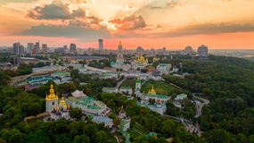 Kyiv Pechersk Lavra at sunset stock images
