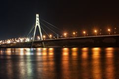 Kyiv, ponte di Mosca alla notte Fotografia Stock Libera da Diritti