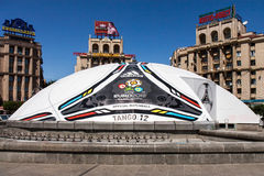 Kyiv prepares for Euro 2012. KIEV,UKRAINE, MAY 25: Constructed in the form of soccer ball of Euro 2012 Tango_12, UEFA European Football Championship in Kiev Stock Photo