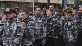 Kyiv, Ucrânia 9 de abril de 2019 Os ativistas e os suportes do partido político do corpo nacional atendem a uma reunião para exig video estoque