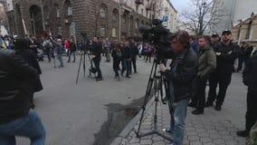 Kyiv, Ucrânia 9 de abril de 2019 Os ativistas e os suportes do partido político do corpo nacional atendem a uma reunião para exig vídeos de arquivo