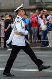 KYIV, UCRÂNIA - 24 DE AGOSTO DE 2016: Parada militar em Kyiv, dedicado ao Dia da Independência de Ucrânia Ucrânia comemora 25o Fotografia de Stock