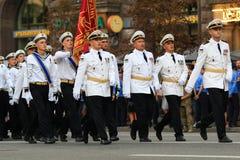 KYIV, UCRÂNIA - 24 DE AGOSTO DE 2016: Parada militar em Kyiv, dedicado ao Dia da Independência de Ucrânia Ucrânia comemora 25o Fotografia de Stock Royalty Free