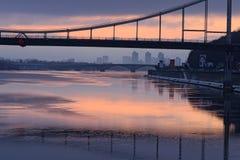KYIV, UCRÂNIA 22 de janeiro de 2017: Manhã colorida do inverno Fotografia de Stock Royalty Free